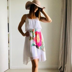 Charlotte Russe sheer white dress w graphic flower